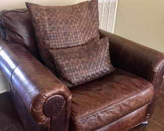 Brown leather chair by Restoration Hardware