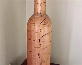 Wooden wine bottle shape puzzle