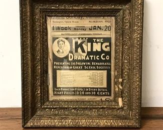 Antique Muskegon opera House Advertisement in Beautiful Antique Frame