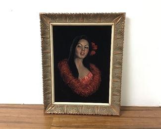 Lovely Hawaiian Lady Portrait Painted on Velvet!