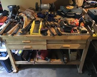 Work Bench with more garage miscellaneous.
