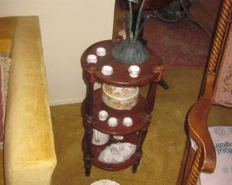 Three Tier Table and Vintage Tiffany Style Lighting