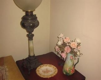Antique Victorian Globe Lamp with Marble and Brass