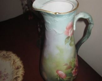 Jean Pouyat Limoges France Hand Painted Pitcher