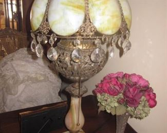 Superb Antique Filigree & Stained Glass Brass with Marble Lamp