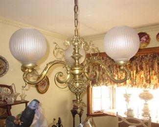 Stunning Globe Brass Ornate Chandelier