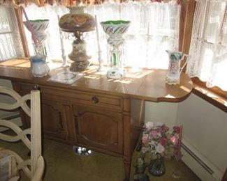 Dining Room Suite with Server with Pair GORGEOUS BOHEMIAN GLASS LUSTRE