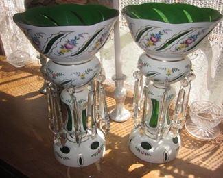 Pair GORGEOUS BOHEMIAN GLASS LUSTRE