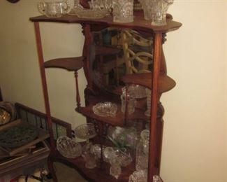 Antique Mahogany Mirrored Display Showcase
