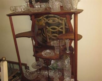Antique Mahogany Mirrored Display Showcase and contents