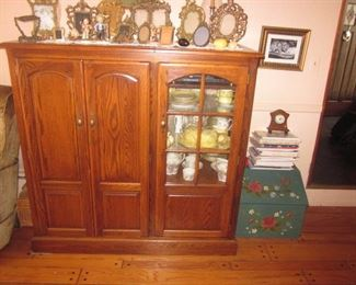 ENTERTAINMENT CABINET AND BRASS ART DECO FRAMES