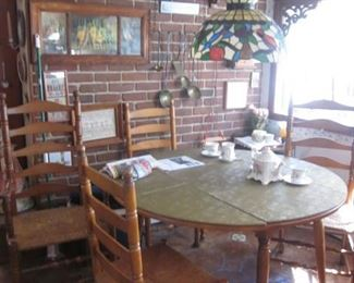Ladder Back Chairs with Round Kitchen/Dining Table