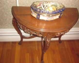 Half Moon Carved Accent Table