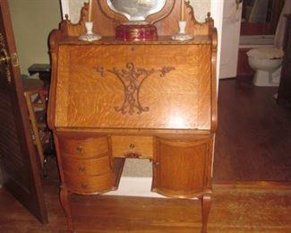 Antique Stunning Tiger Oak Slant Front Desk with Mirror