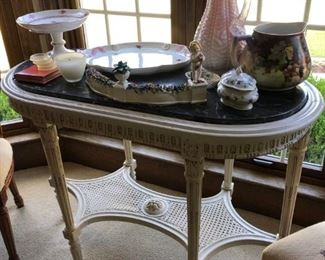 ORNATE CREAM COLORED TABLE AND COLLECTIBLES