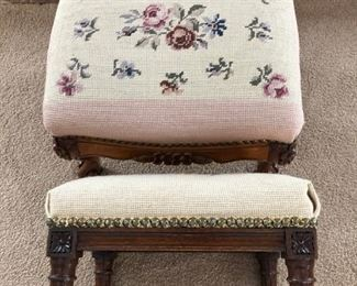 NEEDLEPOINT FOOTSTOOLS