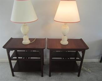 END TABLE AND ALABASTER LAMPS