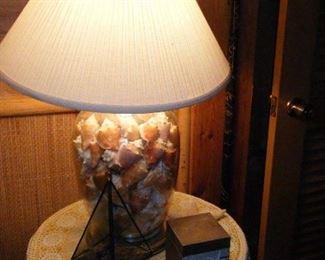 a sea shell lamp
