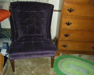 Nice clean purple velvet chair.