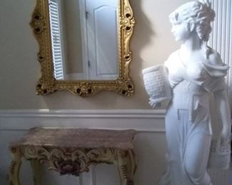 Stunning Carved Marble Sculpture of Italian Maid