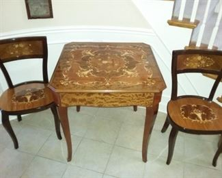 Versatile Sorrento, Italy Inlay Game Table (Roulette, Chess & Checkers, Cards/Black Jack) by A. Cuomo