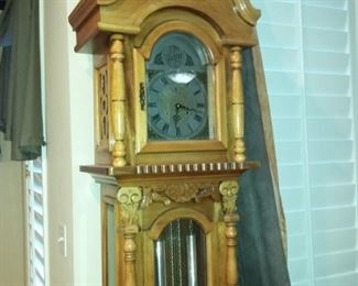 Tempus Fugit Santos carved Grandfather Clock