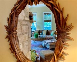 Oval antler mirror