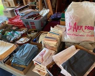 Vintage patterns, yardage of fabrics, threads, etc.