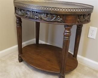 Wood Table with Intricate Metal Top