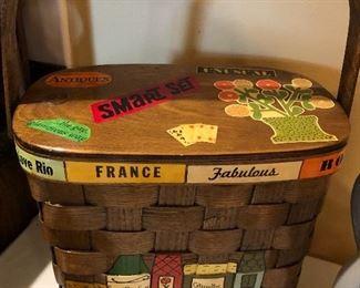 Unusual painted basket.