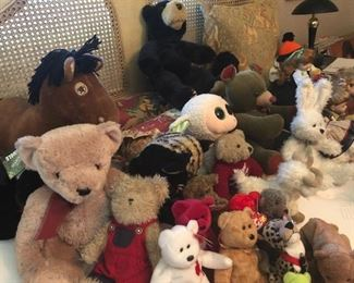 Variety of stuffed toys and Beanie Babies