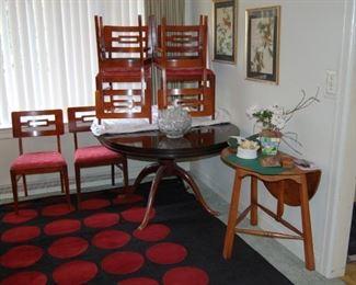 Mid Century Modern Chairs and a Mohawk Poka Dot Rarea rug
