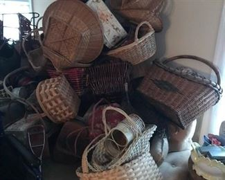 Large assortment of baskets.