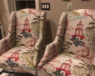 2 new chairs designer fabric