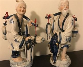 Large Pair Asian Figurines