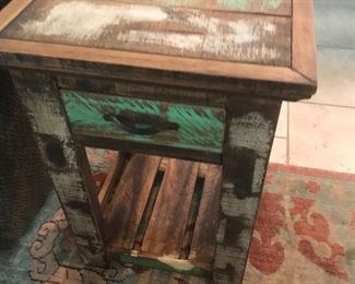 Pair rustic painted end tables