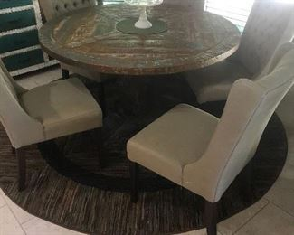 Beautiful large rustic round painted dining table /  set of 6 upholstered chairs