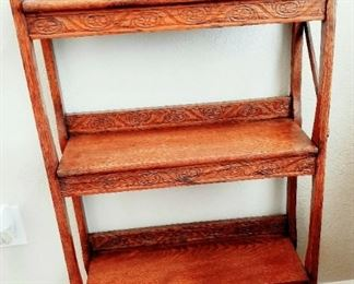 Antique folding wall book shelf