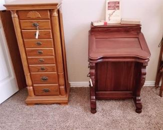 Standing jewelry box wooden secretary