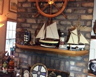 Ships build from kit, stained glass, unique decor items, Nautical Ship Steering Wheel, Lighthouses, Fireplace Tools
