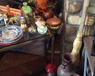 Metal floor vases, Pottery, Collectible Axes, Collectible Brass, Lantern, Tables