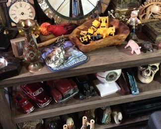 Halloween decor, Skulls, Diecast Cars, Stained Glass, Singing Bird in Cage from Germany