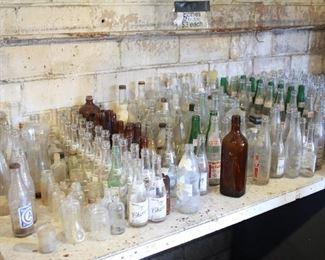$2 each or 10 for $10, 50 for $35 / Vintage soda pop, liquor bottle, medicine glass bottles