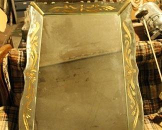 $150 / Vintage Art Deco, Hollywood mirror, gold leaf trim, wood carved back