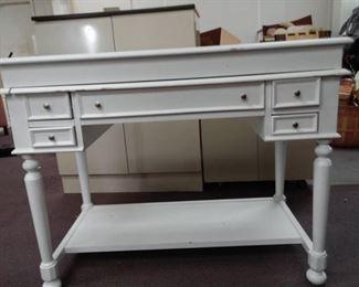 White 5 Drawer Secretary's Desk