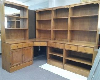 Valley Forge Corner Desk Unit w/ Hutch Tops and Bottom Shelves