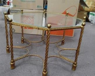 Octogan Shaped Metal Glass Table