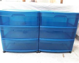 Blue Plastic Rolling Storage Bins (2)