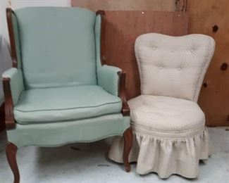Lt. Blue Wingback Arm Chair and Skirted Vanity Chair