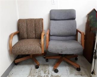 Two Fabric Upholstered Rolling Desk Chairs